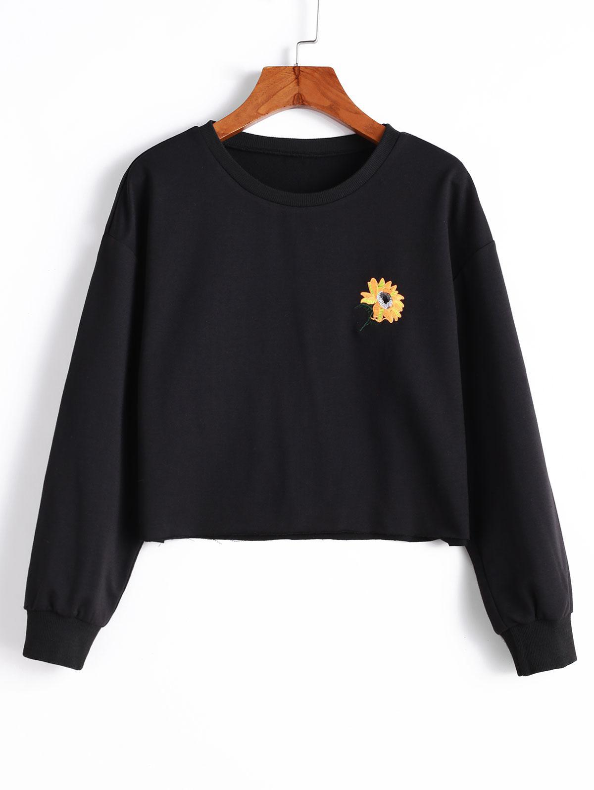 ZAFUL Sequined Flower Embroidered Drop Shoulder Sweatshirt, Black