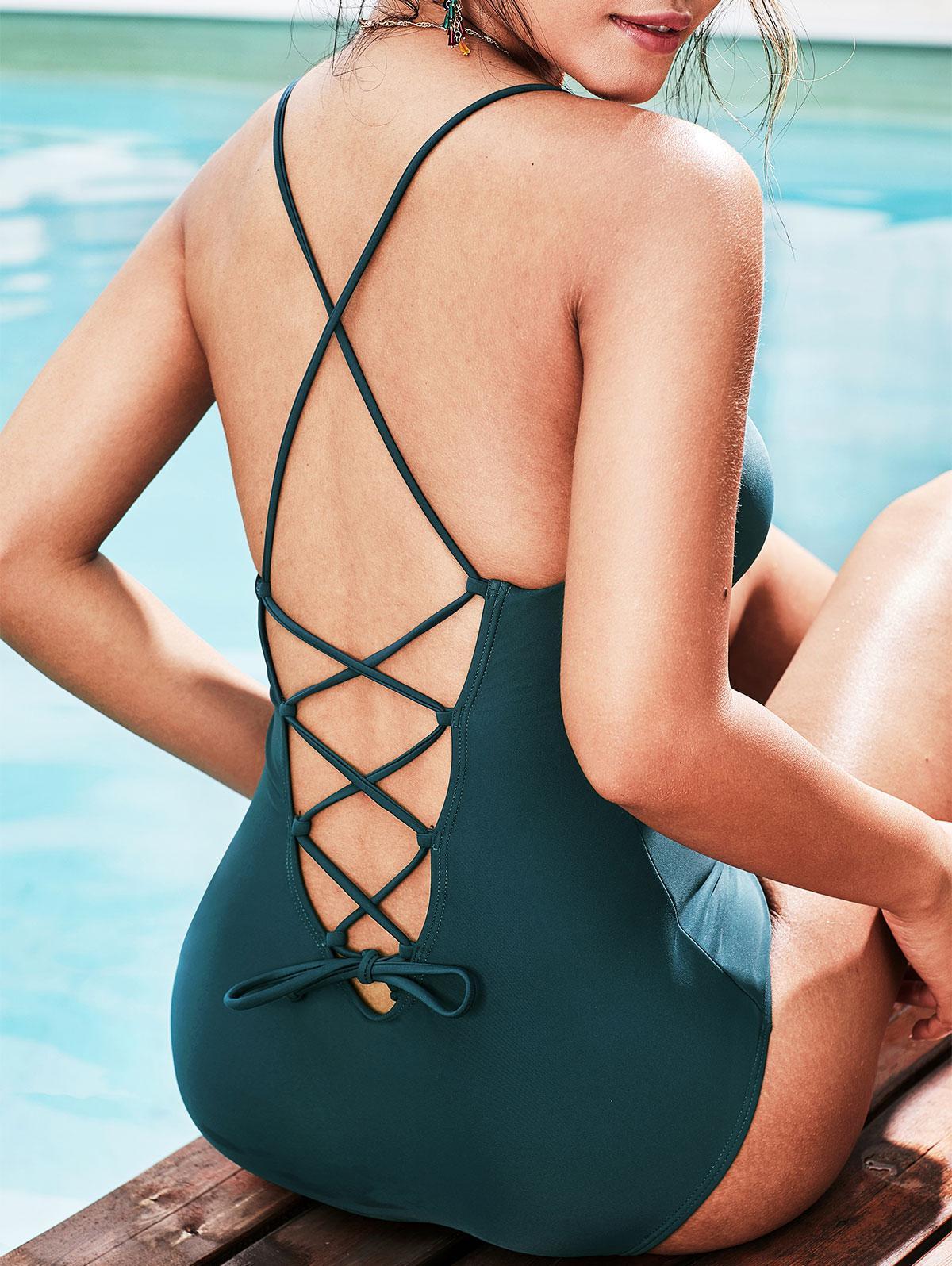 ZAFUL Lace Up Padded One-piece Swimsuit thumbnail