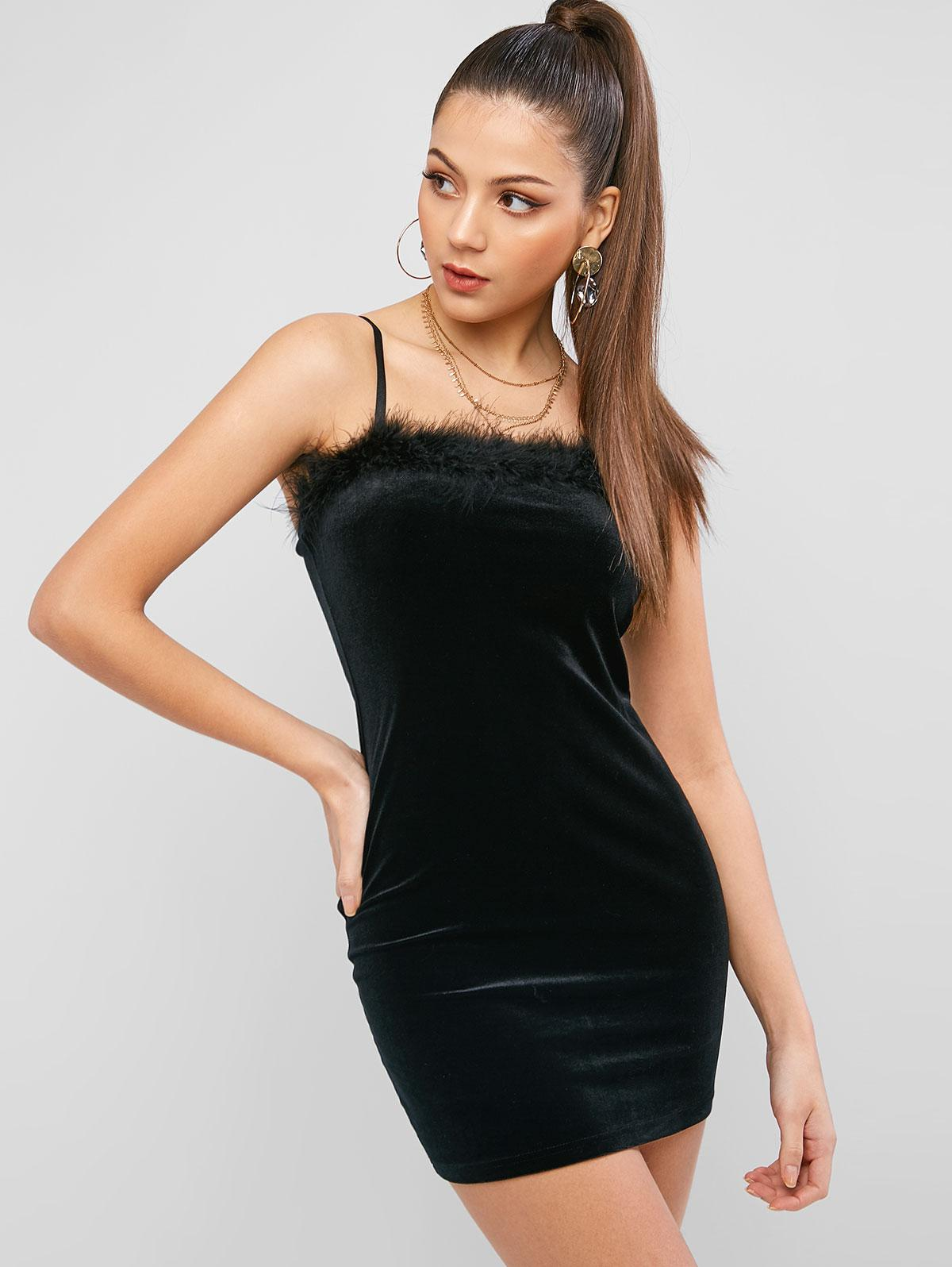 ZAFUL Feather Trim Velvet Bodycon Club Dress