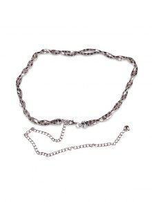 Metal Chain Solid Color Waist Belt