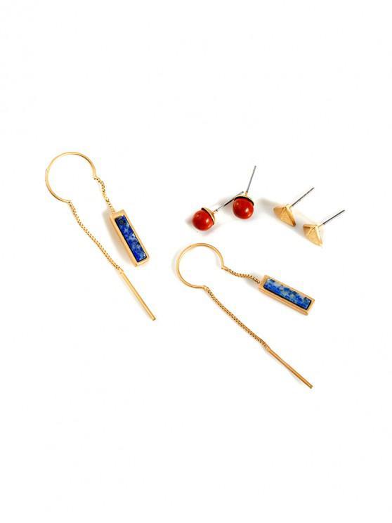 women's Alloy Geometric Bar Chain Earring Set - GOLD