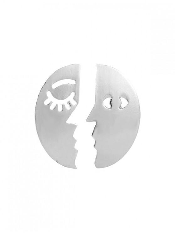 合金面不對稱耳環 - 銀
