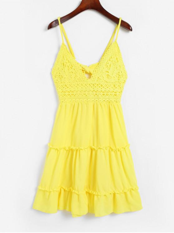 fancy Knotted Back Crochet Panel Flared Cami Dress - YELLOW L
