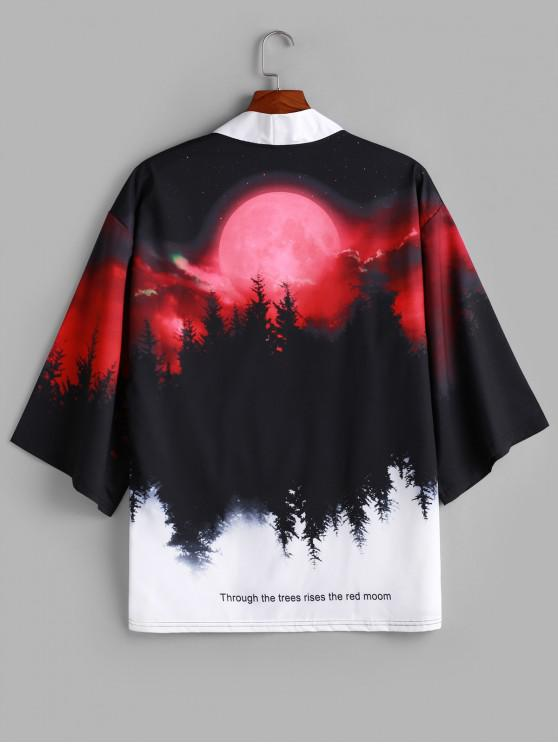 hot Rising Moon Through Tree Forest Print Open Front Kimono Cardigan - RED WINE L
