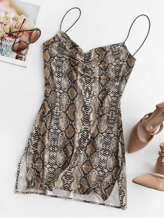 chic Snakeskin Leopard Print Slits Flared Cami Dress - MULTI-B L