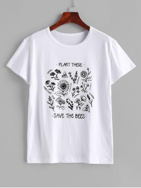 womens Floral Save The Bees Graphic Basic T Shirt - WHITE M