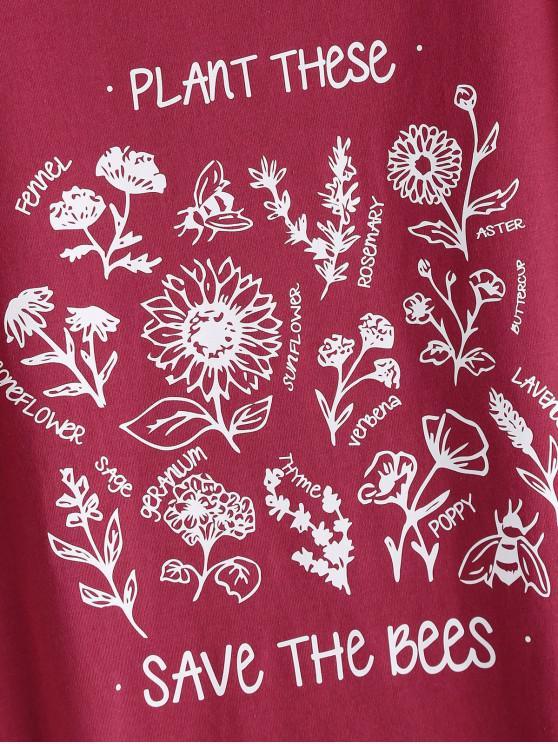 shirt Base Floral Motifs T À De Avec 2xl Imprimé FlorauxRouge kiwOuPZlTX