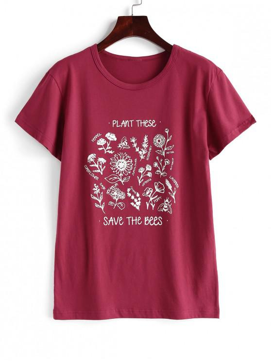 lady Floral Save The Bees Graphic Basic T Shirt - RED 2XL