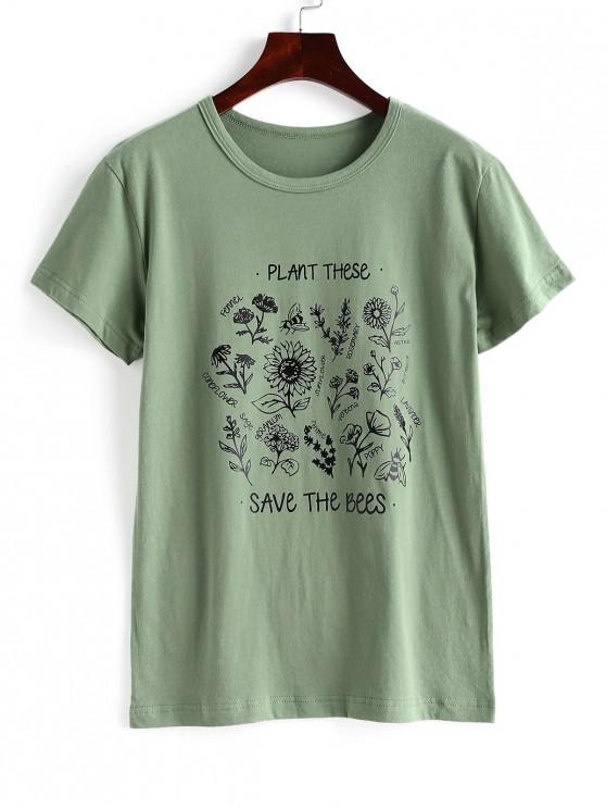 latest Floral Save The Bees Graphic Basic T Shirt - GREEN M