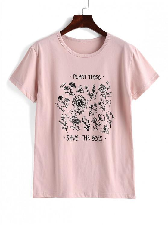 buy Floral Save The Bees Graphic Basic T Shirt - PINK 2XL