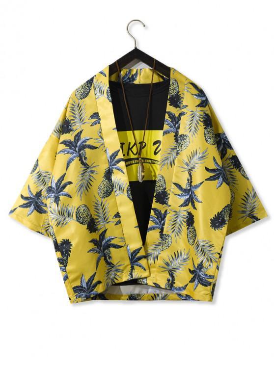 shop Pineapple Leaf Print Open Front Kimono Cardigan - YELLOW 2XL