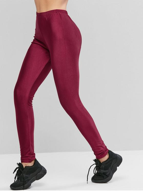 affordable ZAFUL Sparkle Solid High Waisted Leggings - RED WINE XL