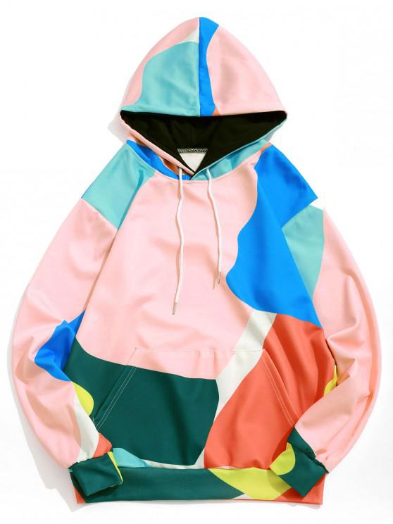 fashion Color Block Splicing Graphic Print Hoodie - MULTI XL