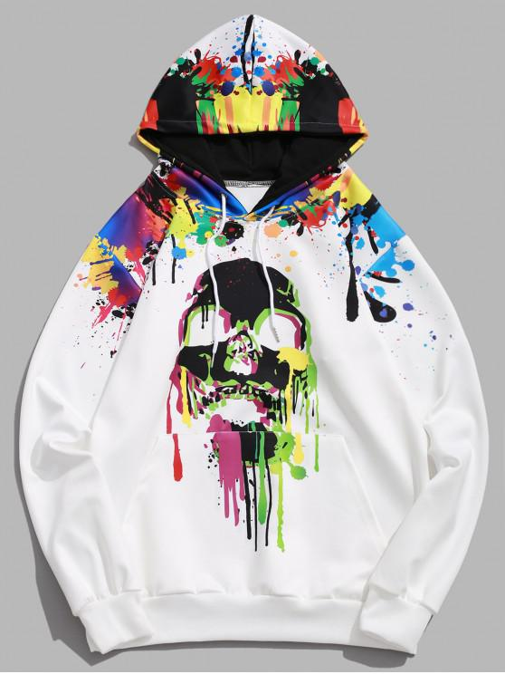chic Halloween Colored Skull Painting Splatter Print Pullover Hoodie - WHITE XL