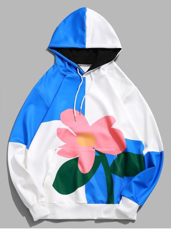 trendy Color Block Panel Flower Print Pullover Hoodie - MULTI XL