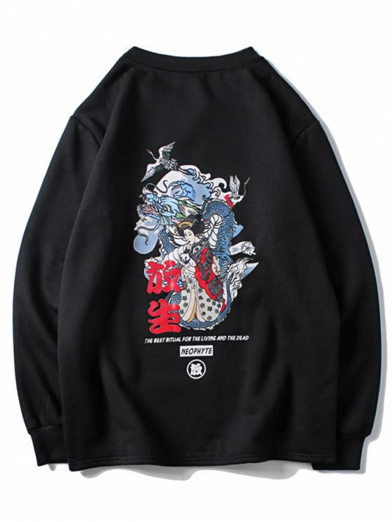 72807d55afc62 Dragon Women Letter Graphic Print Pullover Sweatshirt BLACK