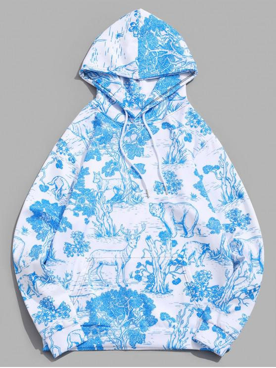 fancy Animal Forest Tree Paint Print Kangaroo Pocket Hoodie - BLUE GRAY S