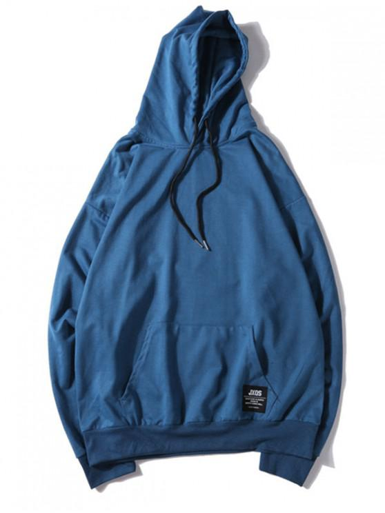 fashion Solid Color Applique Drawstring Pullover Basic Hoodie - OCEAN BLUE L