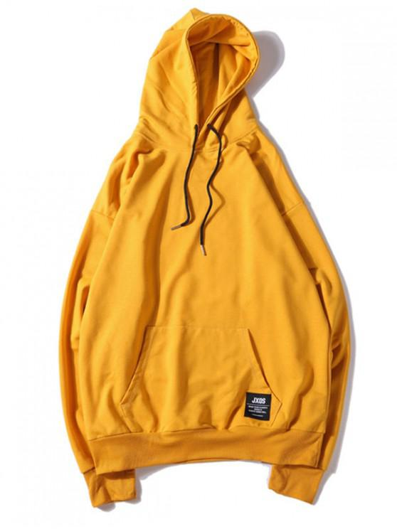 chic Solid Color Applique Drawstring Pullover Basic Hoodie - RUBBER DUCKY YELLOW L