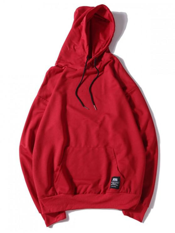 trendy Solid Color Applique Drawstring Pullover Basic Hoodie - LAVA RED XL