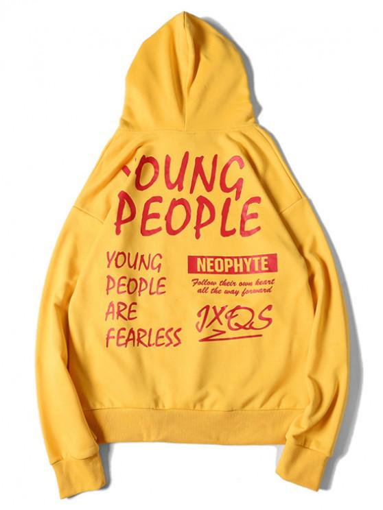 chic Young People Letter Graphic Print Drawstring Hoodie - RUBBER DUCKY YELLOW L