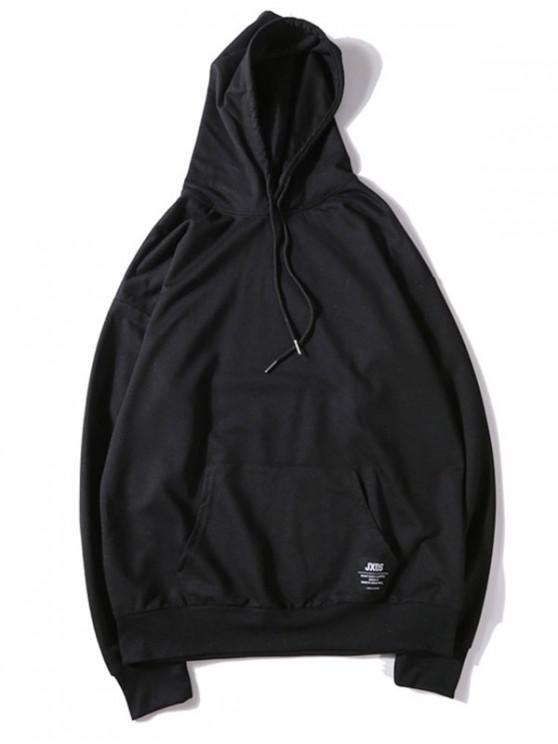 fancy Solid Color Applique Drawstring Pullover Basic Hoodie - BLACK 2XL