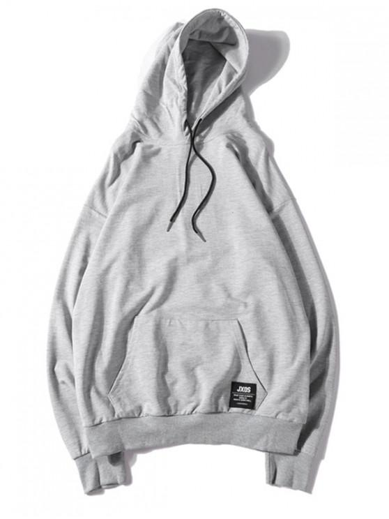 shop Solid Color Applique Drawstring Pullover Basic Hoodie - LIGHT GRAY XL