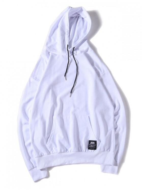 trendy Solid Color Applique Drawstring Pullover Basic Hoodie - WHITE 2XL