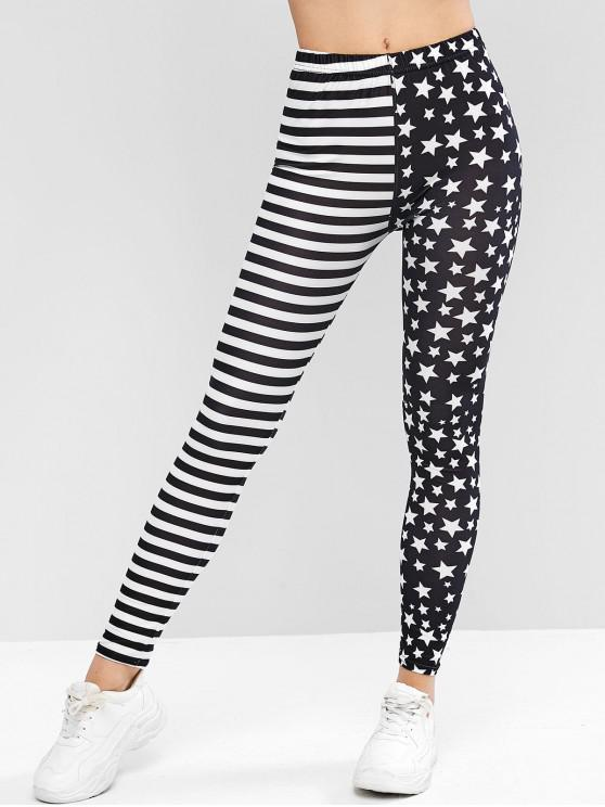 trendy High Waisted American Flag Leggings - MULTI ONE SIZE