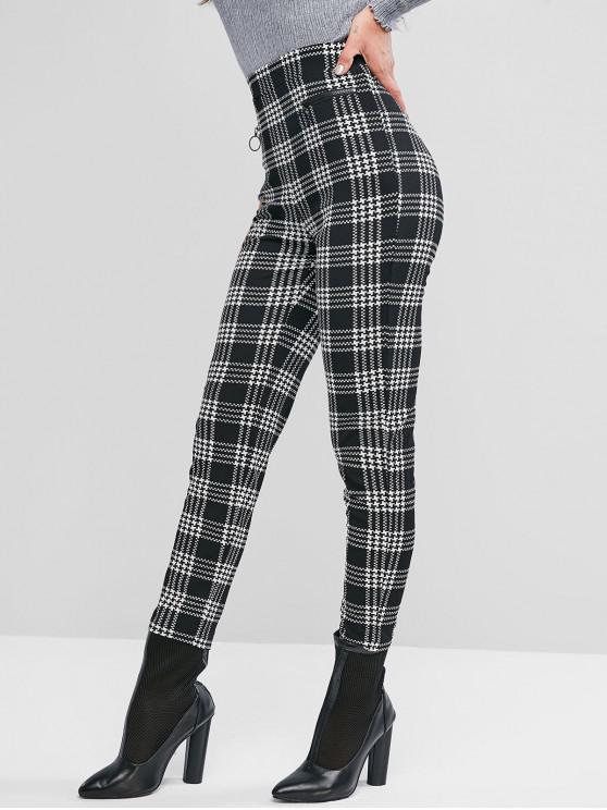 affordable ZAFUL Houndstooth Zipper Embellished Peg Leg Pants - MULTI L