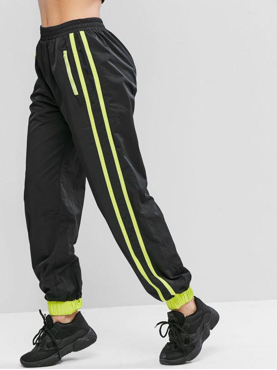 new ZAFUL Zip Pocket Neon Tape Jogger Casual Pants - BLACK XL