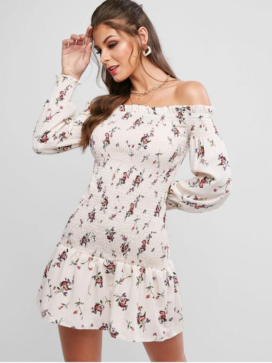 hot ZAFUL Off Shoulder Smocked Tiny Floral Ruffles Dress - WARM WHITE S