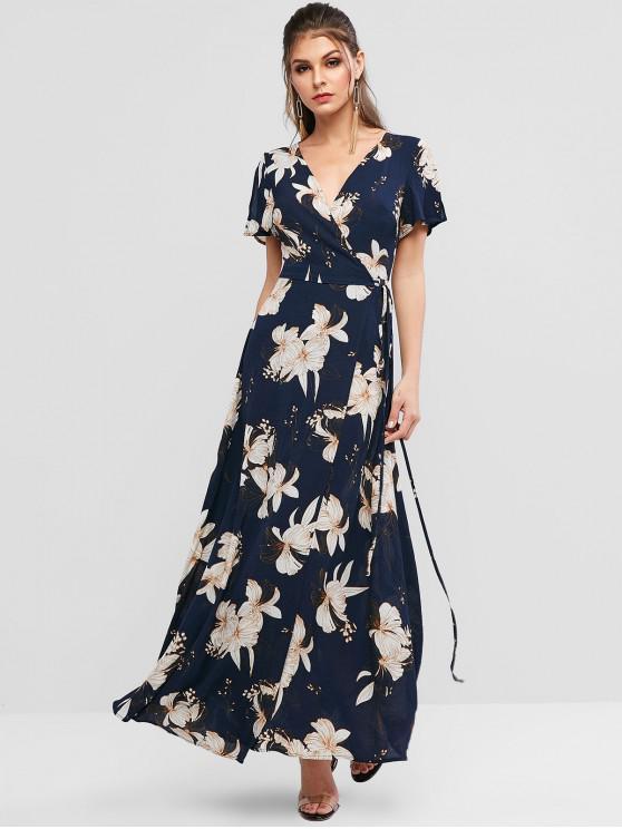 latest ZAFUL Spilt Sleeve Floral Print Maxi Wrap Dress - DEEP BLUE M