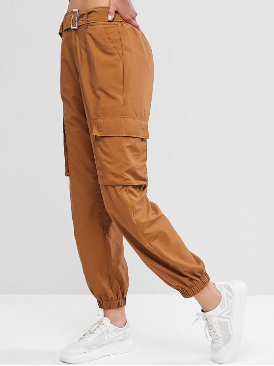 chic ZAFUL High Waisted Belted Pocket Jogger Pants - WOOD L