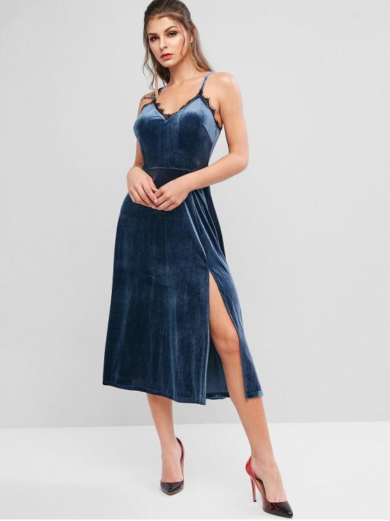 fancy ZAFUL Lace Trim Slit Velvet Dress - LAPIS BLUE M