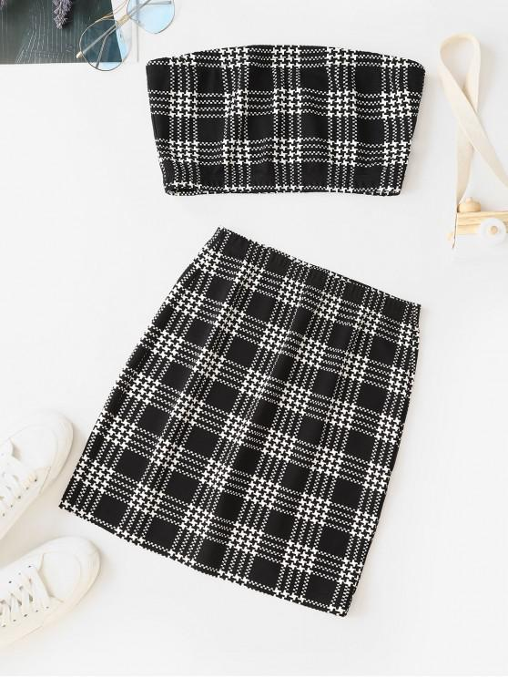 online ZAFUL Houndstooth Plaid Bandeau Two Piece Dress - MULTI M