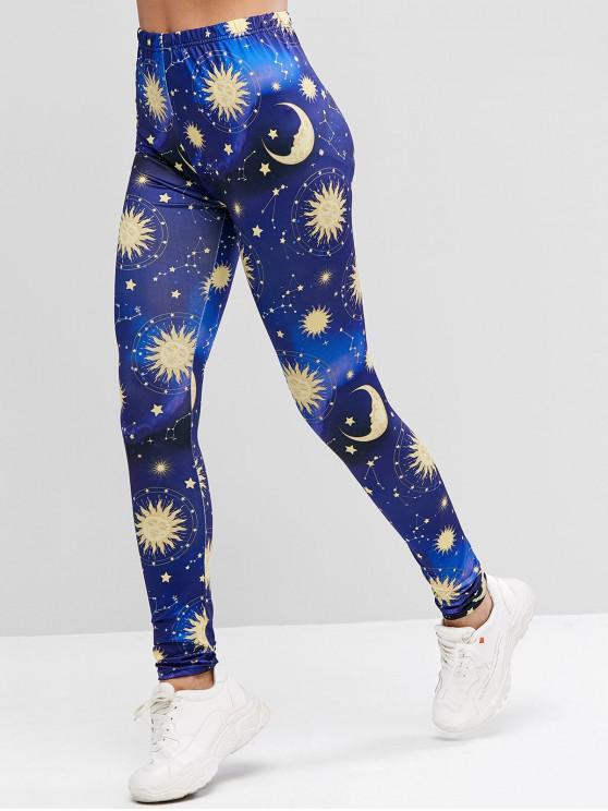 latest ZAFUL High Waisted Galaxy Star Sun And Moon Leggings - MULTI L