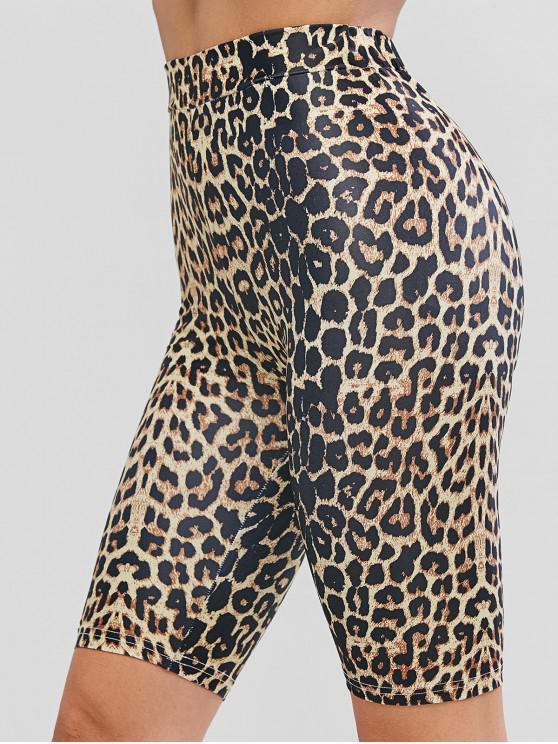Biker-Shorts mit Leopardenmuster und Hoher Taille - Multi-B L
