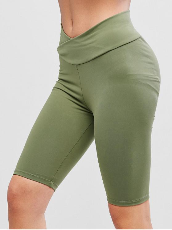 chic Solid Cross Front Scrunch Butt Biker Shorts - GREEN L