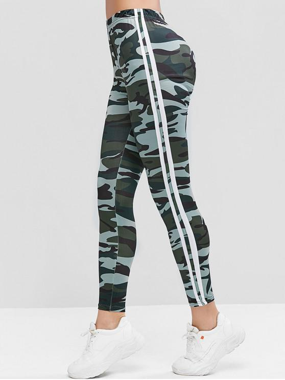 chic Camouflage Side Striped High Waist Leggings - MULTI M