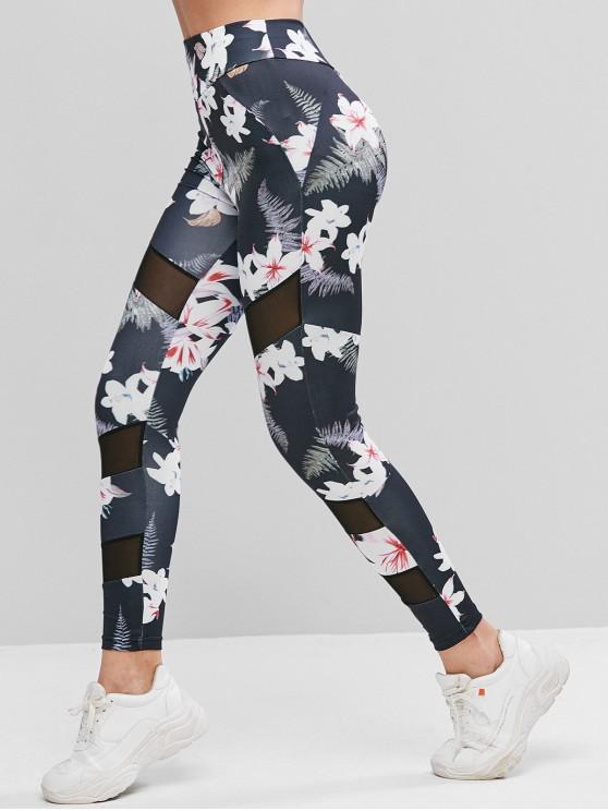 lady Mesh Panel Floral Print High Waist Leggings - MULTI M