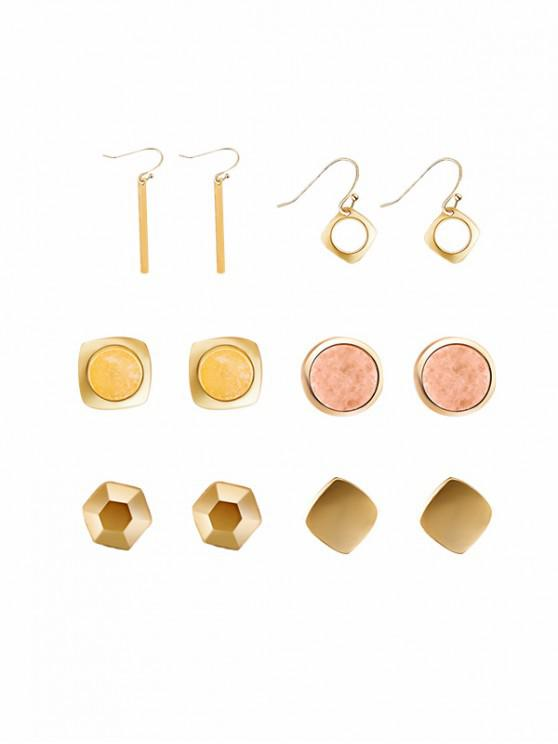 ladies Natural Stone Metal Bar Earring Set - TANGERINE