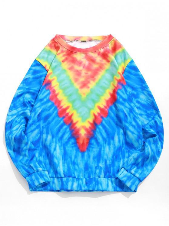 trendy Tie Dye Round Neck Pullover Sweatshirt - BLUEBERRY BLUE 2XL