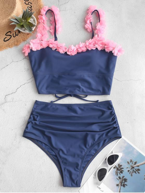 affordable ZAFUL Petal Lace-up Ruched Tankini Swimsuit - SLATE BLUE 2XL
