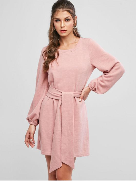 lady ZAFUL Tie Waist Long Sleeve Tunic Knitted Dress - KHAKI ROSE L