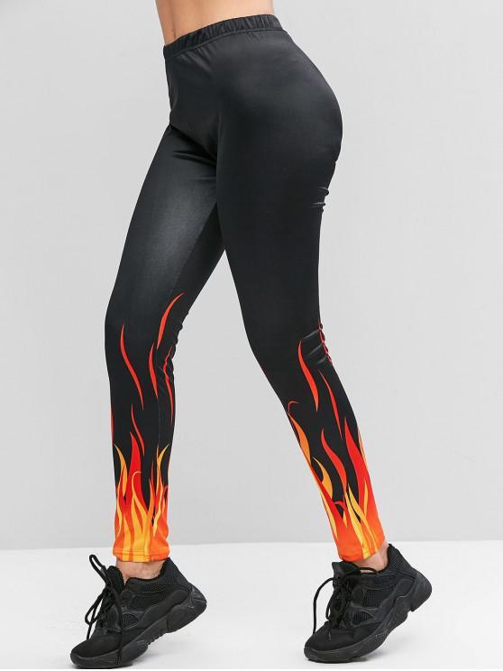 sale ZAFUL High Waisted Pull On Flame Print Leggings - BLACK M
