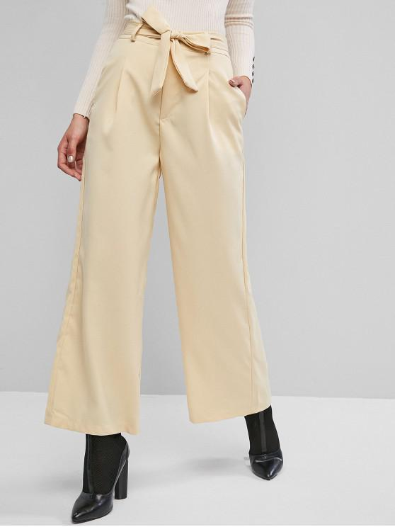 trendy Belted Pocket High Waisted Wide Leg Pants - LEMON CHIFFON M
