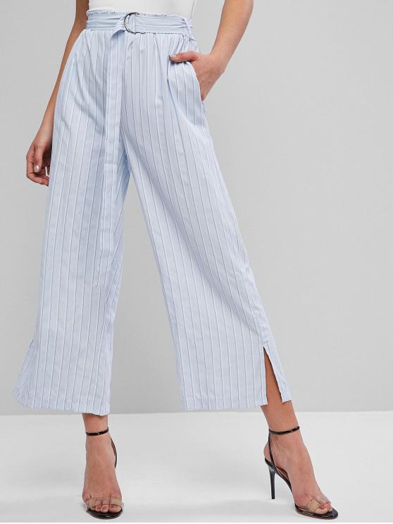 online Striped Belted Slit Pocket Wide Leg Pants - PASTEL BLUE S