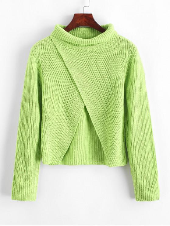 trendy Turtleneck Tulip Jumper Sweater - JADE GREEN M