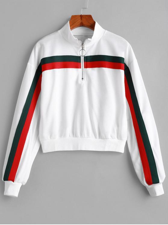 Sweat-shirt Demi-Zip Panneau Rayé - Blanc L